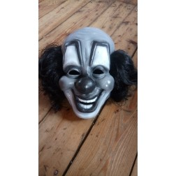 Clownmaske grau mit schwarzem Haar / Clownmask grey with black hair